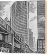333 W Wacker Drive Black And White Wood Print
