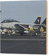 An F-14d Tomcat On The Flight Deck Wood Print