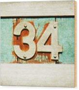 34 On Weathered Aqua Wood Print
