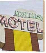 Route 66 Cars Cafes Restaurants Hotels Motels Wood Print