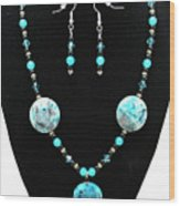 3508 Crazy Lace Agate Necklace And Earrings Wood Print