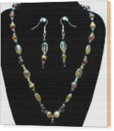3509 Amber Striped Onyx Set Wood Print