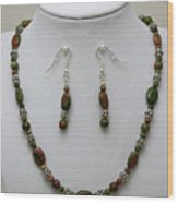 3525 Unakite Necklace And Earring Set Wood Print