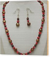 3536 Freshwater Pearl Necklace And Earring Set Wood Print