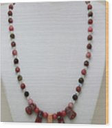 3541 Rhodonite And Jasper Necklace Wood Print