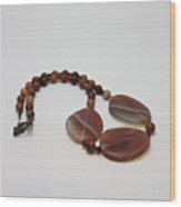 3543 Coffee Vein Agate Necklace Wood Print