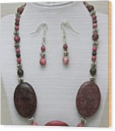 3544 Rhodonite Necklace Bracelet And Earring Set Wood Print