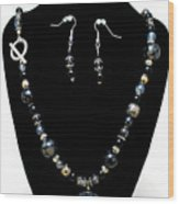 3545 Black Cracked Agate Necklace And Earring Set Wood Print