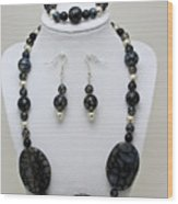 3548 Cracked Agate Necklace Bracelet And Earrings Set Wood Print