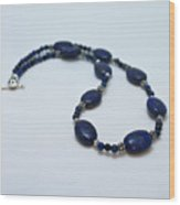 3553 Lapis Lazuli Necklace And Earrings Set Wood Print