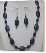 3555 Lapis Lazuli Necklace And Earring Set Wood Print