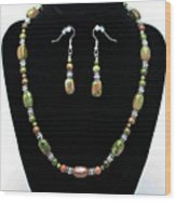 3565 Unakite Necklace And Earrings Set Wood Print