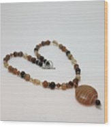 3574 Coffee Onyx Necklace Wood Print