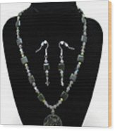 3576 Kambaba And Green Lace Jasper Necklace And Earrings Wood Print