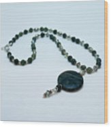 3577 Kambaba And Green Lace Jasper Necklace Wood Print