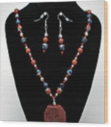 3578 Jasper And Agate Long Necklace And Earrings Set Wood Print