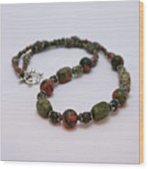 3579 Unakite Necklace  Wood Print