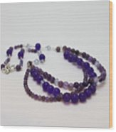 3580 Amethyst And Adventurine Necklace Wood Print