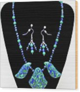 3582 Lapis Lazuli Malachite Necklace And Earring Set Wood Print