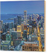 360chicago Rivers Begin To Glow - Skyline Panorama Wood Print