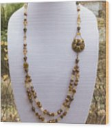3615 Long Pearl Crystal And Citrine Necklace Featuring Vintage Brass Brooch  Wood Print