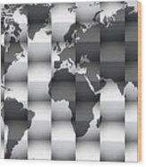 3d Black And White World Map Composition Wood Print