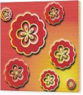 3d Digital Flowers Wood Print