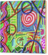 3d Jazz Wood Print