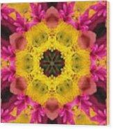 3d Pink Kaleidoscope Wood Print