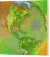 3d Render Of Planet Earth Wood Print