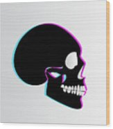 3d Skull Icon Background Side On Wood Print