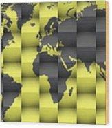 3d World Map Composition 4 Wood Print