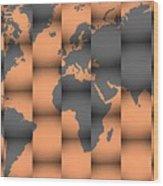 3d World Map Composition Wood Print