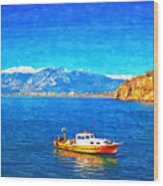 A Digitally Constructed Painting Of A Small Fishing Boat  With Snow Covered Mountains In Antalya Turkey Wood Print