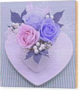 A Gift Of Preservrd Flower And Clay Flower Arrangement, Blue And Wood Print