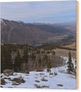 A Snowy Desert Mountain Scene Above Twin Lakes Along The Trail To Monument Ridge In The Eastern Sier Wood Print