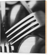 Abstract Black And White Forks Wood Print