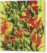 Abstract Flowers Wood Print