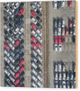 Aerial View Lot Of Vehicles On Parking For New Car. Wood Print