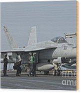 An Fa-18f Super Hornet On The Flight Wood Print