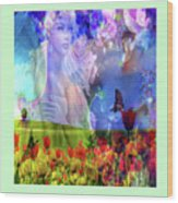 Angel In A Field Wood Print
