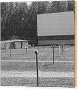 Auburn, Ny - Drive-in Theater Bw Wood Print