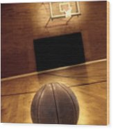 Basketball And Basketball Court Wood Print