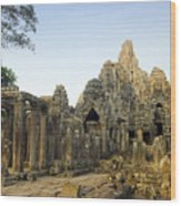 Bayon Temple Wood Print by MotHaiBaPhoto Prints
