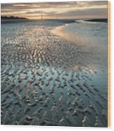 Beautiful Beach Coastal Low Tide Landscape Image At Sunrise With Wood Print