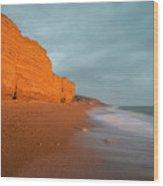 Beautiful Vibrant Sunset Landscape Image Of Burton Bradstock Gol Wood Print