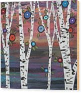 4 Birches Wood Print