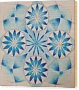 4 Blue Flowers Mandala Wood Print