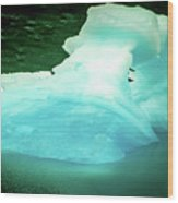 Blue Icebergs And Ice Chunks In Water Nearby Alaska Wood Print