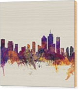 Brisbane Australia Skyline Wood Print